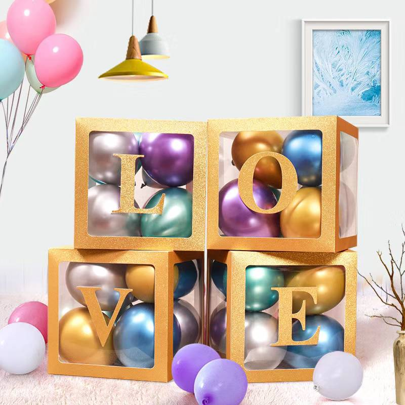balloon box love gold