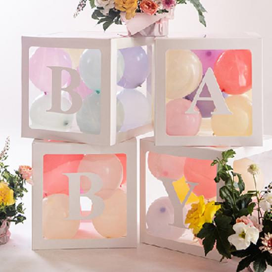 baby shower balloon box decor